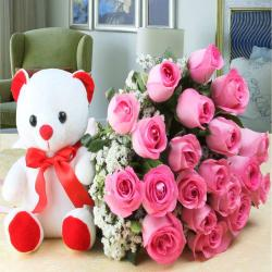 Marvellous Twenty Pink Roses with Cute Teddy Bear
