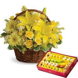 Mithai with Flowers basket