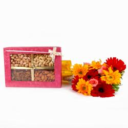 Mix Assorted Dryfruits Box with Bunch of Roses and Gerberas