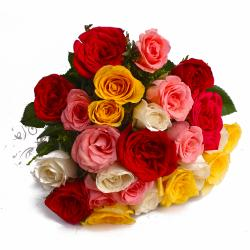 Mix Color 25 Roses Hand Bunch