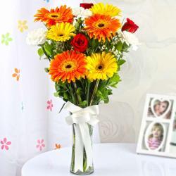 Mix Colorful Flowers Vase