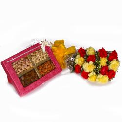 Mix Dryfruits Box with Fifteen Mix Color Carnations Bouquet