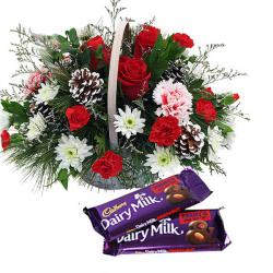 Mix Flowers Arranged In Basket With Fruit n Nut Chocolate
