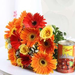 Mix Flowers Bouquet with Gulab Jamun