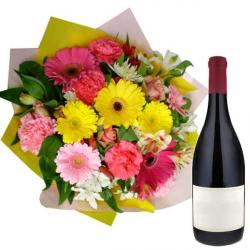 Mix Flowers Bouquet with Wine Bottle