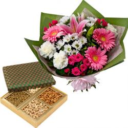 Mix flowers with Dryfruits
