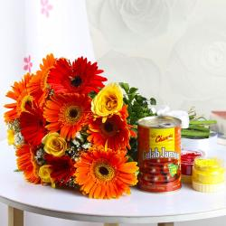 Mix Flowers with Gulab Jamun and Holi Colors