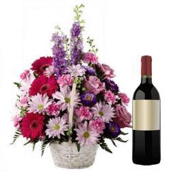 Mix Fresh Flowers Basket with Wine