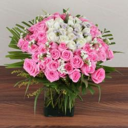 Mix Fresh Roses Glass Vase