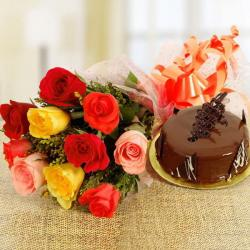 Mix Roses and Chocolate Cake Combo