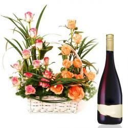 Mix Roses Basket with Wine