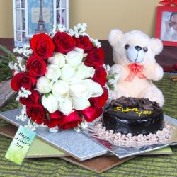 Mix Roses Bouquet and Cute Teddy Bear with Cake