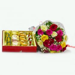 Mix Roses Bouquet with 1 Kg Assorted Sweet Box