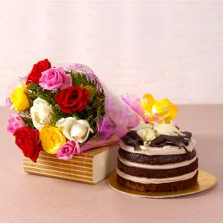 Mix Roses Bouquet with Chocolate Sponge Creamy Cake