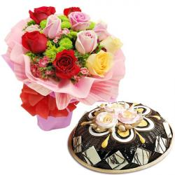 Mix Roses With Black Forest Dom Cake