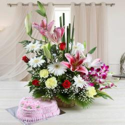 Mix Seasonal Flowers Arrangement with Strawberry Cake