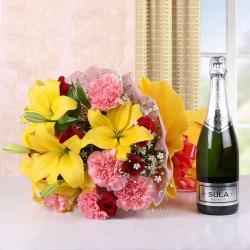 Mix Seasonal Flowers Bouquet with Wine Bottle