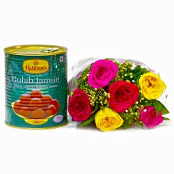 Mix Six Roses Bouquet with Gulab Jamuns