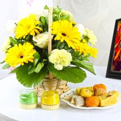 Mix Yellow Flowers with Assorted Sweets and Holi Colors