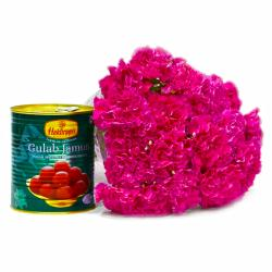 Mouthmelting 1 Kg Gulab Jamuns with 15 Pink Carnations Flowers