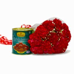 Mouthwatering Gulab Jamun with Love Red Carnations