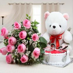 One Dozen of Pink Roses with Strawberry Cake and Teddy
