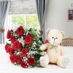 One Dozen Red Roses with Teddy Bear