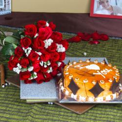 One Kg Butterscotch Cake with Red Roses Bouquet