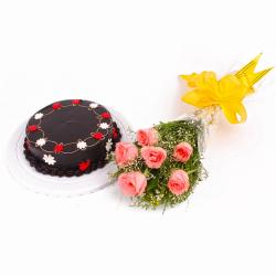 One Kg Chocolate Cake and Six Pink Roses Bouquet