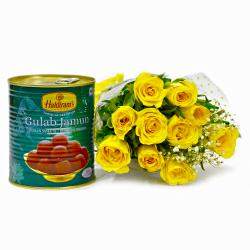 One Kg Gulab Jamuns with Bouquet of Yellow Roses