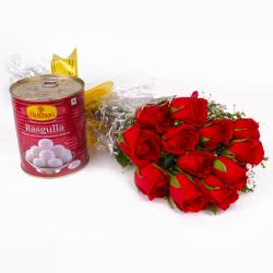 One Kg Rasgulla with Dozen Red Roses Bunch
