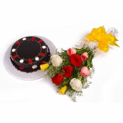 One Kg Yummy Chocolate Cake and Bouquet of Colorful Roses