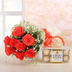 Orange Roses with Ferrero Rocher Chocolate