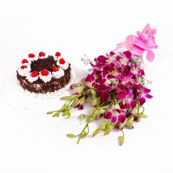 Orchid Flowers Hand Tied with Black Forest Cake