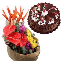 Paradise Flower Bouquet and Chocolate Cake