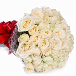 Peaceful 50 White Roses Bouquet