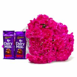 Perfect Pink Carnations Bouquet and Cadbury Dairy Milk Fruit N Nut Chocolate Bars