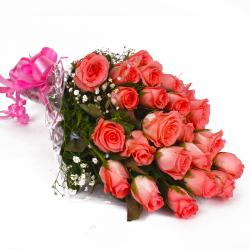 Perfect Pink Roses Bunch with Cellophane Wrapping