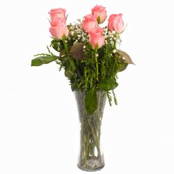 Perfect Vase of Six Pink Roses