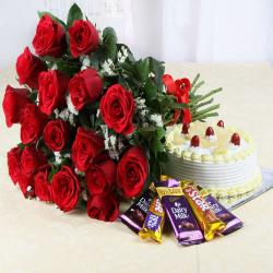 Pineapple Cake and Red Roses with Assorted Chocolates