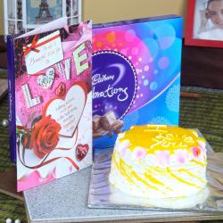 Pineapple Cake with Cadbury Celebration Chocolate Pack and Love Card