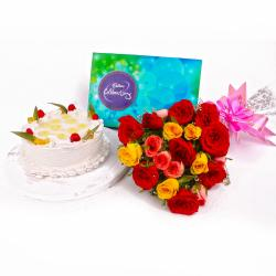 Pineapple Cake with Celebration Chocolate Pack and Mix Roses