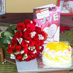 Pineapple Cake with Love Greeting Card and Red Roses Bouquet