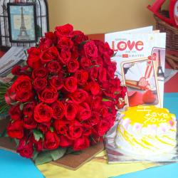 Pineapple Cake with Red Roses Bouquet and Love Card