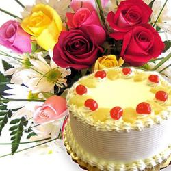 Pineapple Cake With Rose and Gerberas Bouquet