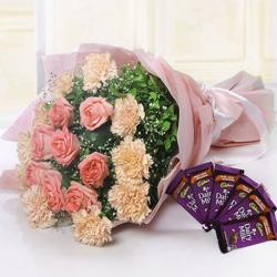 Pink Flower Bouquet with Cadbury Dairy Milk Chocolates