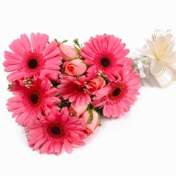 Pink Gerberas and Pink Roses Flowers Bouquet