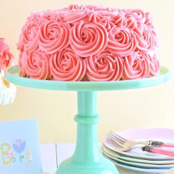 Pink Rose Strawberry Cake