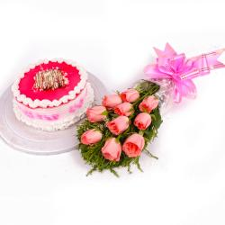 Pink Roses and Strawberry Cake Combo