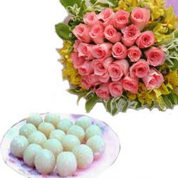 Pink Roses Bouquet and Rasgulla Sweets